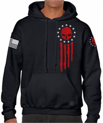 American Flag Blood Skull Hoodie Sweat Shirt