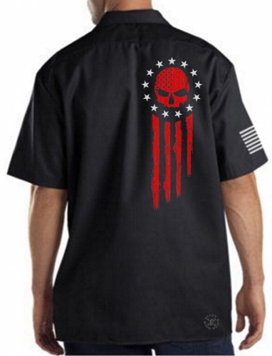 American Flag Blood Skull Work Shirt