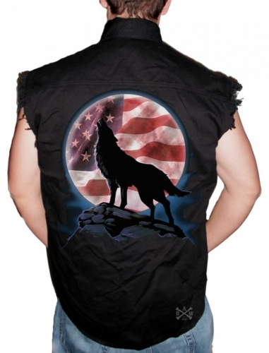 American Wolf Howl Sleeveless Denim Shirt