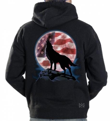 American Wolf Howl Hoodie Sweat Shirt