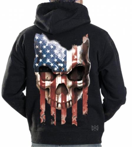 American Flag Skull Hoodie Sweat Shirt