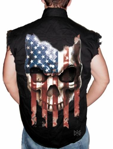 American Flag Skull Sleeveless Denim Shirt