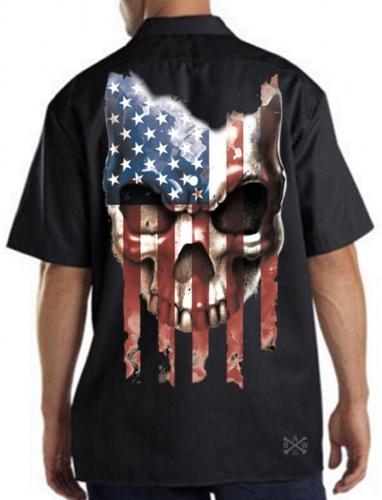 American Flag Skull Work Shirt