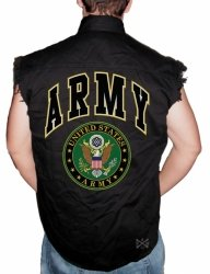 Army Sleeveless Denim Shirt