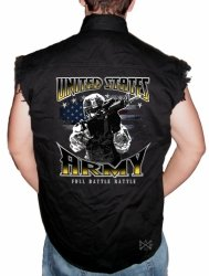 Army Full Battle Rattle Sleeveless Denim Shirt