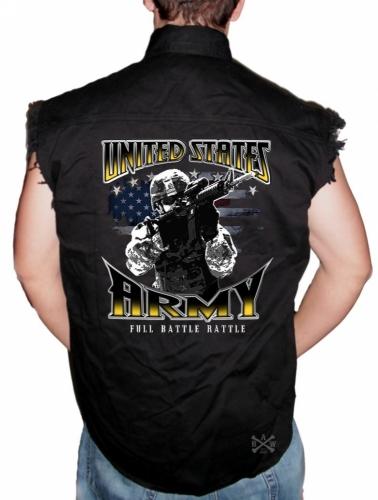 Army Full Battle Rattle Sleeveless Denim Shirt