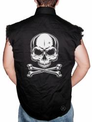 Skull & Crossbones Sleeveless Denim Shirt