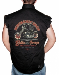 Mechanic Shop Bobber Garage Sleeveless Denim Shirt