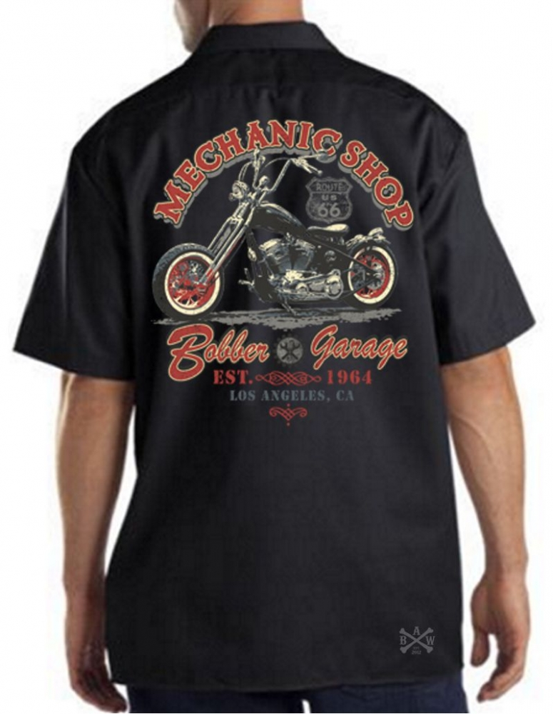 Mechanic Shop Bobber Garage Work Shirt Back Alley Wear