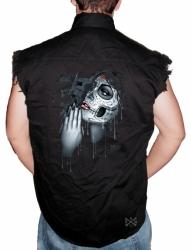 Day of the Dead Pray Sleeveless Denim Shirt
