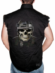 Military Skull Sleeveless Denim Shirt