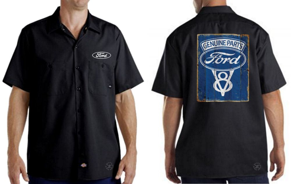 dd368fdb7b Details about FORD GENUINE PARTS Dickies Mechanics Work Shirt ~ Licensed ~  Mustang V8 F150