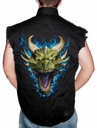 Green Dragon Sleeveless Denim Shirt