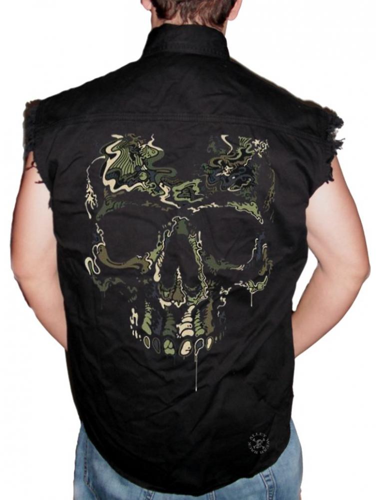 Kostuumvest Op Jeans.Special Ops Camo Skull Sleeveless Denim Shirt Back Alley Wear