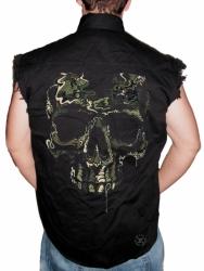 Special Ops Camo Skull Sleeveless Denim Shirt
