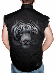 White Tiger Sleeveless Denim Shirt