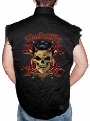 Rockabilly Devil Sleeveless Denim Shirt