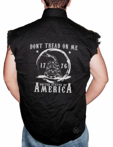 Don't Tread on Me Sleeveless Denim Shirt