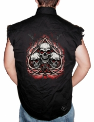 Spade with Three Skulls Sleeveless Denim Shirt