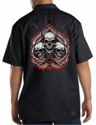 Spade with Three Skulls Work Shirt