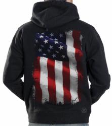 American Flag Waving Hoodie Sweat Shirt