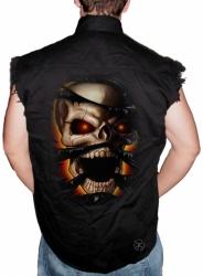 Skull Rip Sleeveless Denim Shirt
