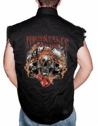 High Stakes Skull Sleeveless Denim Shirt