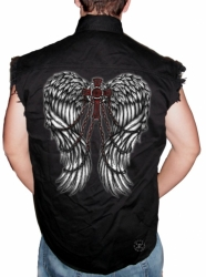 Wings w/ Cross & Chains Sleeveless Denim Shirt