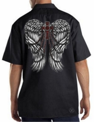 Wings w/ Cross & Chains Work Shirt