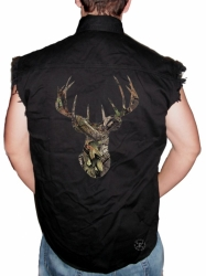 Break-Up Camo Deer Skull Sleeveless Denim Shirt