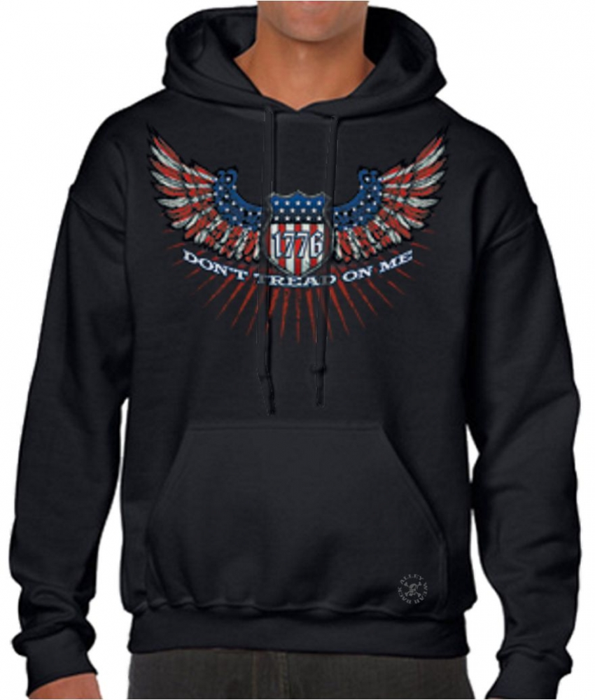 Don 39 t tread on me wings hoodie sweat shirt back alley wear for T shirts that don t show sweat