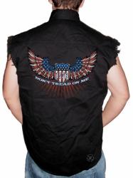 Don't Tread on Me Wings Sleeveless Denim Shirt