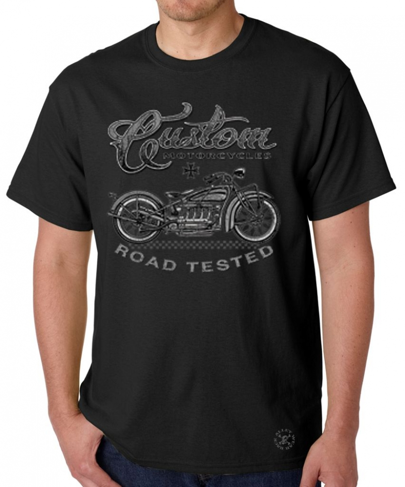 custom motorcycles road tested t shirt back alley wear. Black Bedroom Furniture Sets. Home Design Ideas