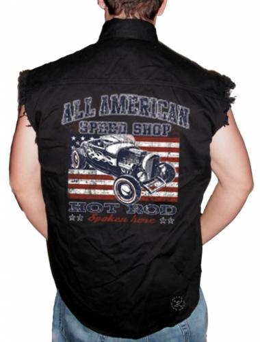 All American Speed Shop Sleeveless Denim Shirt