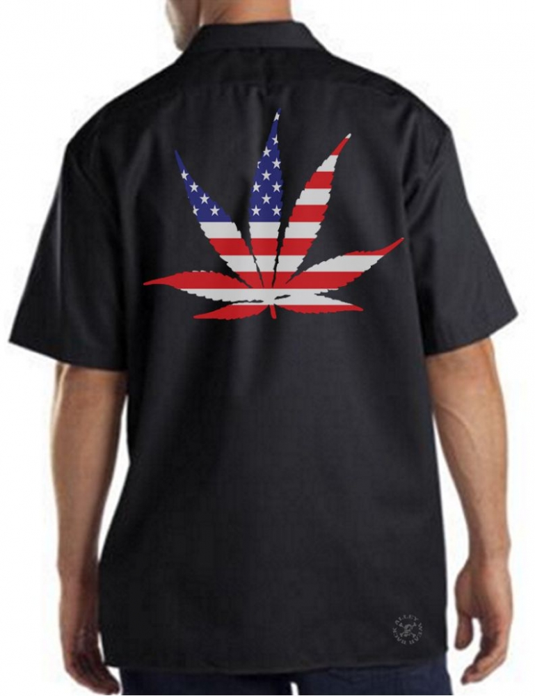 American pot leaf work shirt back alley wear for Usa made work shirts