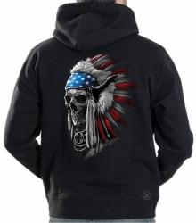 Patriotic Chief Skull Hoodie Sweat Shirt