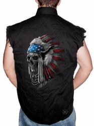 Patriotic Chief Skull Sleeveless Denim Shirt