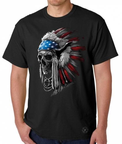 Patriotic Chief Skull T-Shirt