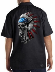 Patriotic Chief Skull Work Shirt