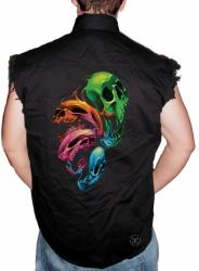Distorted Skulls Sleeveless Denim Shirt