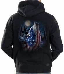 Howling Wolf Americana Hoodie Sweat Shirt