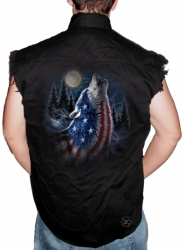 Howling Wolf Americana Sleeveless Denim Shirt
